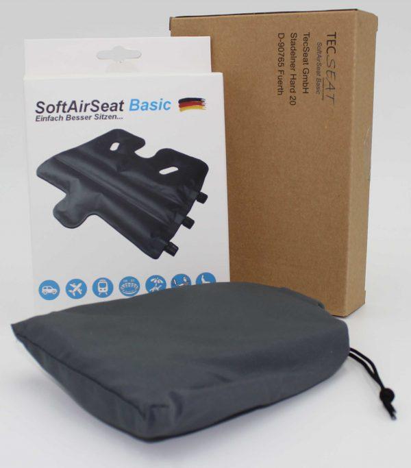 Verpackt in einer recycelten Kartonverpackung kommt ihr SoftAirSeat Basic+ sicher und gut bei ihnen an.